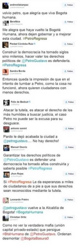 Tweets positivos sobre Restitución de Petro